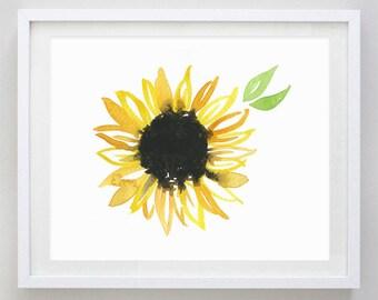 Sunflower Watercolor Art Print - Kansas City Art - KC Watercolor Painting