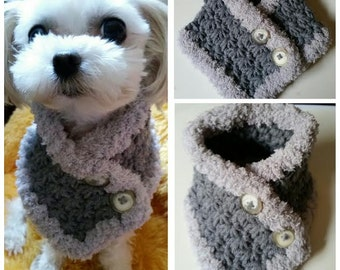 Crocheted Small Dog Scarf, Dog neck warmer,  Puppy scarf/neck warmer  fits most S or M dogs or Cats