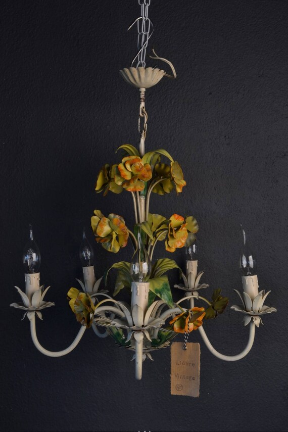 Tole flower chandelier with yellow and orange metal flowers