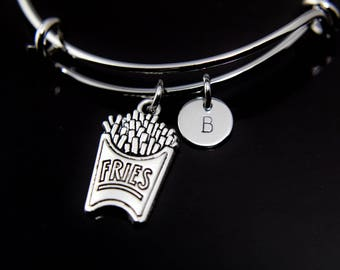 Foodie Gift, French Fry Bracelet, French Fry Bangle, Silver Fries Charm Bracelet, French Fries Charm, Personalized Bracelet, Initial Charm
