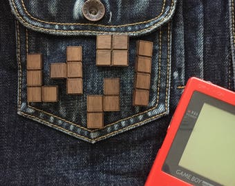 Tetris Walnut Pin Set