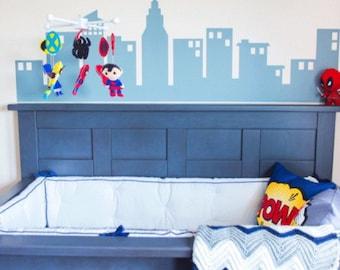 Superhero City, Boys Wall Decals, Super Hero Decals, Childrens Wall Art, Vinyl Decals, Boys Bedroom Decor