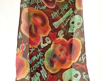 Silk Chiffon Scarf - Skulls, Scrawls and Roses