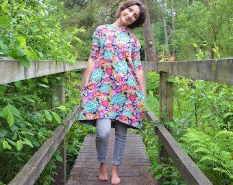 Ladies jersey smock dress sizes 6-16 blue pink flowers pocket cotton floral pockets lounge stretch knit pretty casual surf jumper clothing