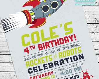 Retro Rockets & Robots Outer Space Invitation + Thank You Notes