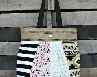 Scrappy Pleated Tote Bag, Everyday Purse, Tribal, Arrows, Metallic, Aztec