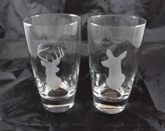 Buck and Doe Custom Etched Pint Glasses