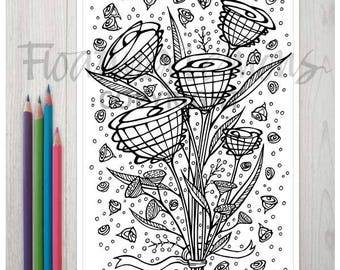 Printable Busy Blossoms Colouring Page