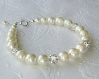Bridal Bracelet, Pearl Bracelet, Pearl and Rhinestone Bracelet, Cuff Bracelet, Pearl Wedding Bracelet, Rhinestone Pearl Wedding Jewelry