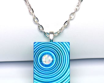 Blue Ripple Necklace with Rhinestone