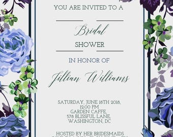 Bridal Shower Invitation | Florals | Romantic | Tea Party | Boho Chic | Digital Copy Only | 5x7 Card