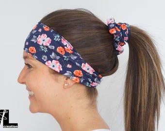 Navy floral, headband hair band, women accessory