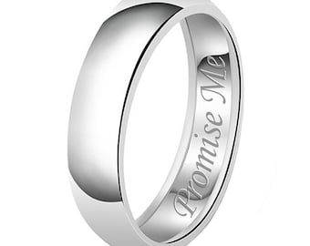 7mm Promise Me Engraved Classic Sterling Silver Plain Wedding Band Ring
