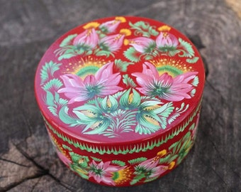 Box Burgundy cpaleolor  Green rose Hand painted Wooden box Gift for women