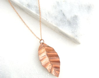 Hand Forged Copper Leaf Necklace