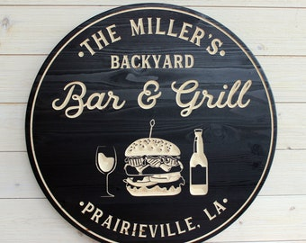 NEW! Bar & Grill Sign, Bar Signs, Personalized Bar Sign, Carved Wood Signs, Burger Sign, Custom Signs, Wedding Gift, Personalized Gift