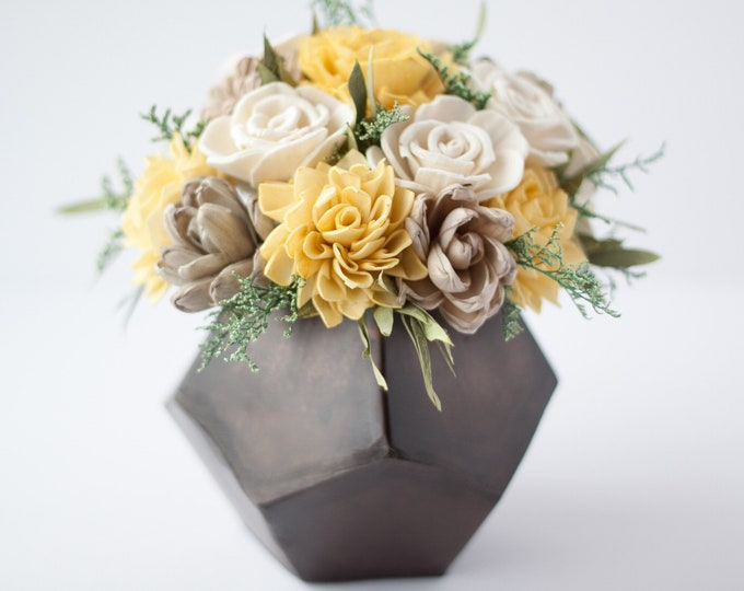 Mustard Yellow Keepsake Sola Flower Arrangement - Ships FREE, Sola Flower Arrangement, Flower Centerpiece, Floral Centerpiece