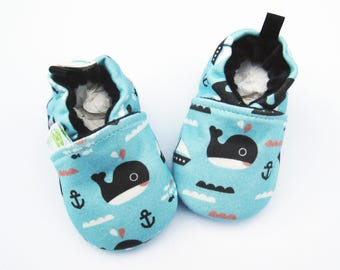 Organic Knits Whales in Blue / All Fabric Soft Sole Baby Shoes / Made to Order/ Babies