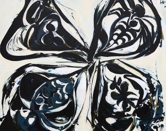 PUCCI BUTTERFLY, Butterfly Painting, Blue and White, Big Wall Art, Blue White Painting, Large Canvas Art, Butterfly Art, Blue Butterfly