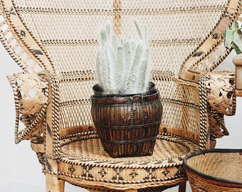 Large Plant Basket /Tapered Plant Basket / Vintage Planter / Large Wicker Basket / Woven Basket / Boho Planter / Bamboo Basket Planter