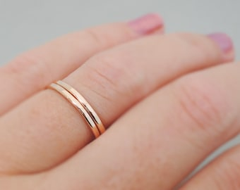 Rose Gold Rings hammered stacking rings 16 gauge stackable rings - thumb ring - midi ring - knuckle ring