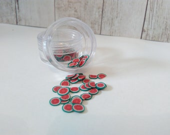 fruit watermelon nails art polymer clay cane slices
