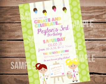 Paint Party Invitation, Paint Birthday Party,