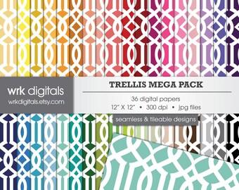 Trellis Mega Pack Seamless Digital Paper Pack, Digital Scrapbooking, Instant Download