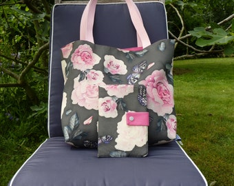 Pack bag Tote beach bag and wallet - resistant fabric for women-printed roses and butterflies-handles door long shoulder-Pocket