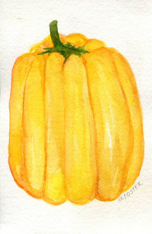 Pepper watercolors paintings original 4 x 6 Vegetable kitchen