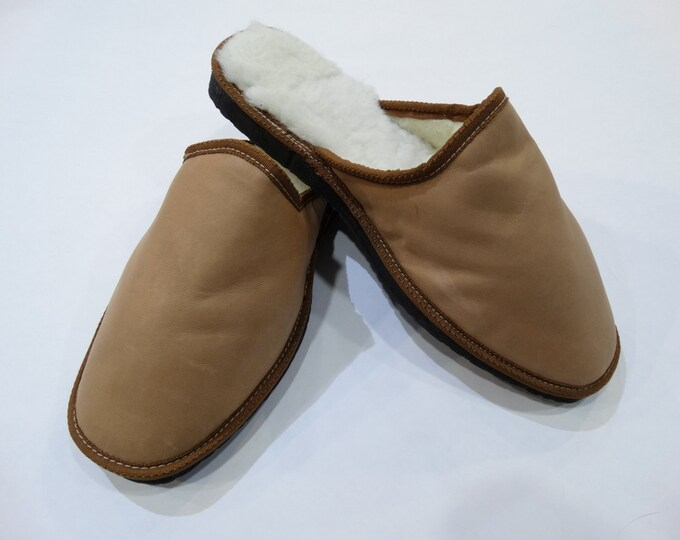 Leather Men Slippers,Handmade Slippers F445