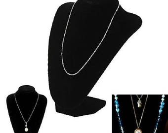 Black Velvet Fancy Necklace Jewelry Bust Display Stand Room Home Organization Chain Holder stand