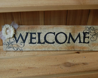 "WELCOME Sign in Rich Browns with Print background, Elegant Flower/Words in Bold Black/Great Gift/17"" x 4 1/2"" Sign(M52)"