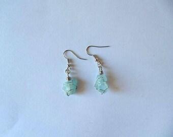 Blue Topaz earrings, dangle earrings, drop earrings, blue crystal, crystal earrings, gift for her, blue earrings, wire wrapped earrings