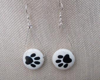 Large Paw Print Black White Quartzite Earrings Bracelets or Necklace Sterling