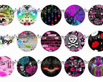 INSTANT DOWNLOAD...Girly Punk 1 Inch Circle Image Collage for Bottle Caps...Buy 3 get 1