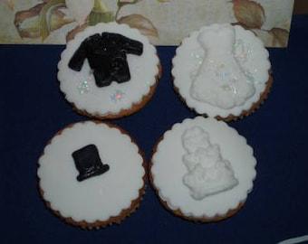 12 edible wedding cupcake toppers.