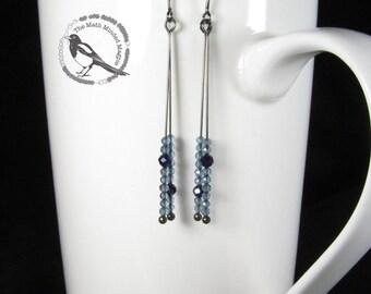 Minimalist Earrings // London Blue Topaz & Sapphire // Oxidized Sterling Silver
