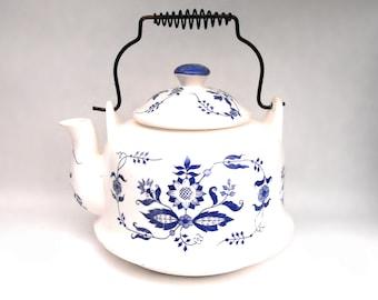 Vintage Blue Floral Teapot Coffee Tea Kettle Mid Century 1940s - 1950s Country Cottage Chic Cobalt Motif Porcelain Kitchen Royal Delft Decor