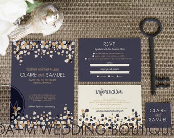 Wedding Invitation set, Classic Wedding Invitation, Printable Invitations, Modern invitation set: CLAIRE