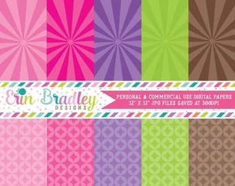 80% OFF SALE Digital Scrapbook Papers Personal and Commercial Use Rockstar Girl Starbursts Instant Download