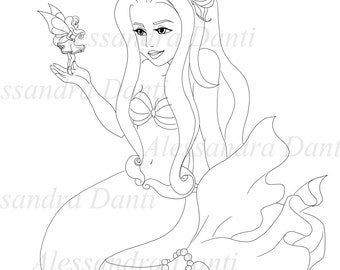 Colouring mermaid and fairy.