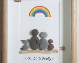 Pebble Art framed Picture - Our little Family - Family, Dog and Rainbow