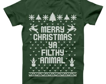 Merry Christmas Ya Filthy Animal You Ugly Sweater Contest Party Sm-5xl Cute Holiday Gift Xmas Outfit Holidays Basic Men's T-Shirt DB0002