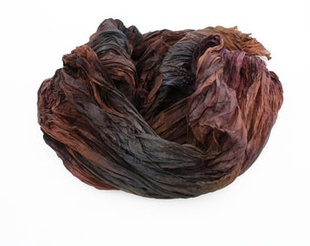 brown silk scarf - Chocolate Love -  brown, cognac, grey silk scarf.