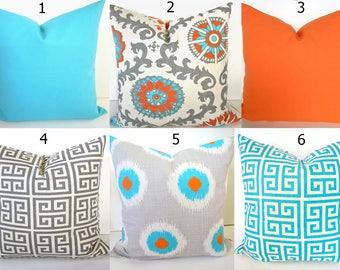 ORANGE THROW PILLOWS Orange Pillow Covers Aqua Blue Throw Pillows Turquoise Throw Pillow Covers 16x16 18 20 .All Sizes Sale. Gray Pillows