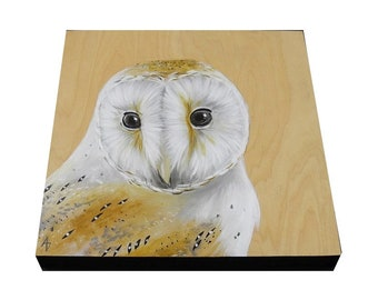 Barn Owl painting - realistic barn owl art on 8x8 wood - natural wood grain  - autumn decor - neutral fall colors - original wildlife art