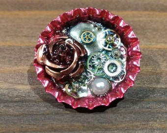 Pink Bottlecap Steampunk Pin - With a Rose and Real Watch Gears
