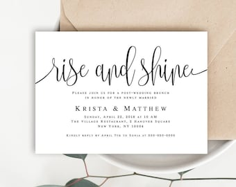 Rise and shine brunch invitations Post wedding brunch invitation Editable invitation template Printable invitation templates Download #vm41