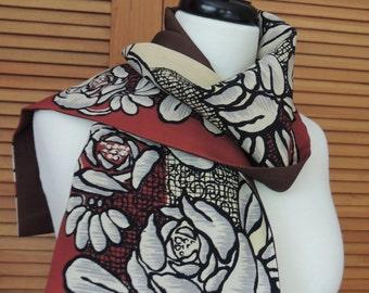 Reversible Vintage Japanese Scarf | Rose patterned Cream/Brick | Recycled